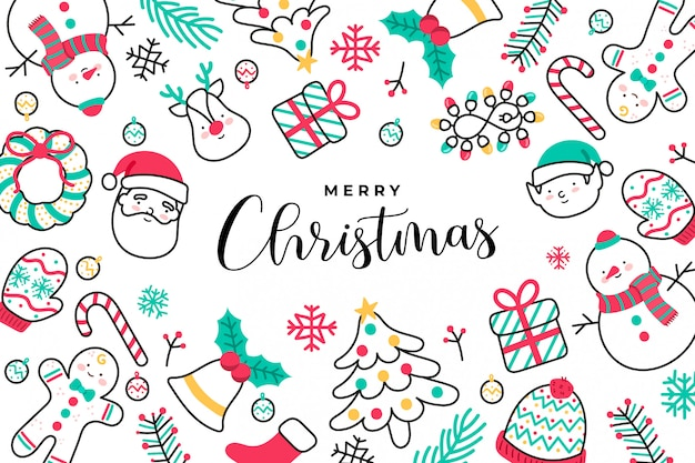 Cute handdrawn christmas background