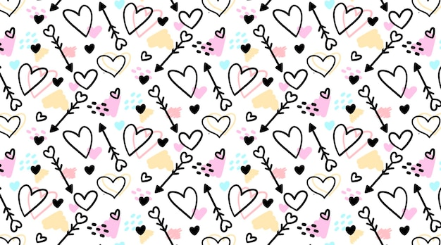 Cute handdrawn seamless pattern with doodled hearts and arrows