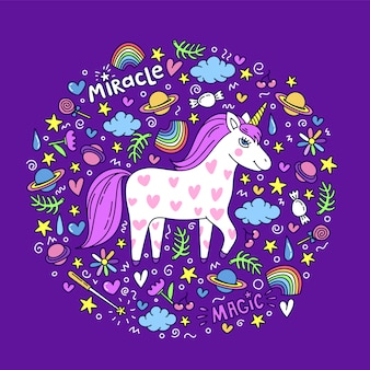 Cute handdrawn unicorn