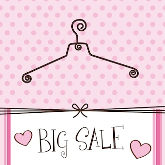 Cute hanger with big sale text over pink background vector