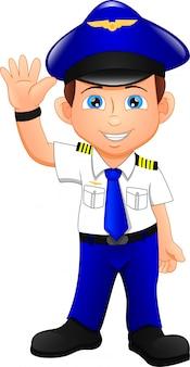 Cute happy airplane pilot waving