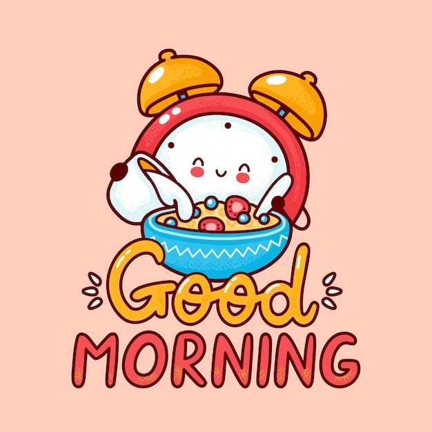 Cute happy alarm clock pour milk into cereal. flat line cartoon kawaii character icon. hand drawn style illustration. good morning card, alarm clock poster concept