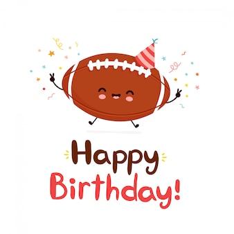 Cute happy american football ball. happy birthday hand drawn style card.