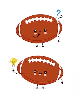 Cute happy american football rugby ball with question mark and idea lightbulb.