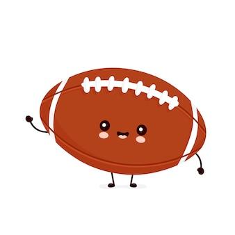 Cute happy american football rugby ball