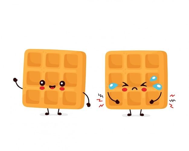 Симпатичные веселые и грустные смешные бельгийские вафли. дизайн значка иллюстрации персонажа из мультфильма. изолированный