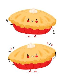 かわいい幸せで悲しい面白い自家製パイ。白い背景で隔離されました。漫画のキャラクターの手描きスタイルのイラスト
