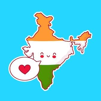 Симпатичная счастливая и грустная смешная карта индии и персонаж флага с сердцем в речевом пузыре. линия значок иллюстрации персонажа мультфильма каваи. концепция индии