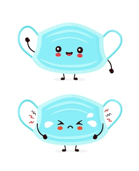 Симпатичные веселые и грустные смешные медицинские маски. дизайн значка иллюстрации персонажа из мультфильма. изолированный