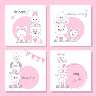 Cute happy animal card set