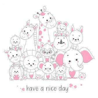 Cute happy animal card set