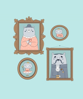 Cute happy animal family of teddy bears frames. best mom, dad ever.