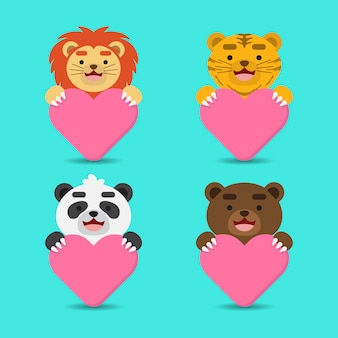 Cute happy animal holding heart avatars
