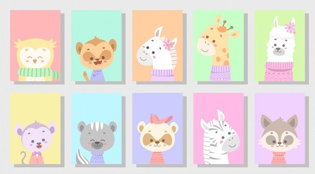 Cute happy animal set