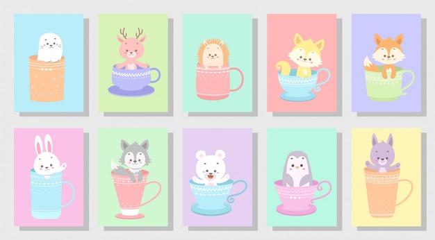 Милый счастливый набор животных