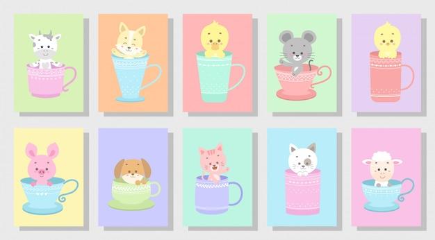 Cute happy animal set