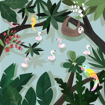 Cute happy animal in tropical forest cartoon.