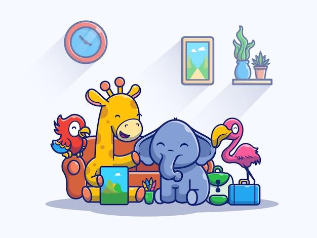 Cute happy animals playing illustration. mascot cartoon character.