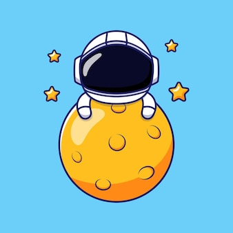 Милый счастливый космонавт обнимает луну
