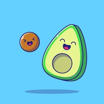 Симпатичный счастливый авокадо персонаж, изолированные на синем