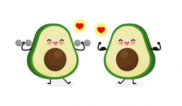 Милый счастливый авокадо делает упражнения с гантелями и авокадо показывают мышцы. здоровая пища и фитнес