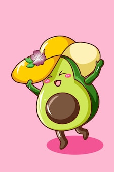 Cute and happy avocado with hat in summer cartoon illustration