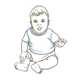 Cute happy baby boy in a diaper