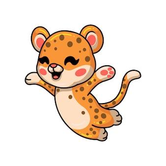 かわいい幸せな赤ちゃんヒョウの漫画
