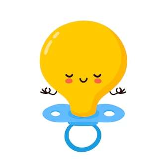 Cute happy baby nipple character meditate. cartoon character illustration