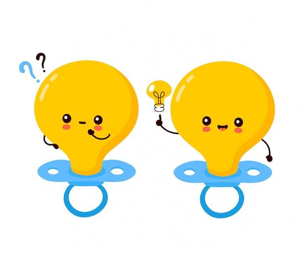 Милый счастливый ребенок соска персонаж с вопросительным знаком и лампочкой идеи. иллюстрация персонажа из мультфильма