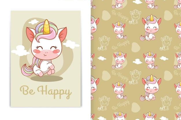 Симпатичные счастливые детские иллюстрации шаржа единорога и бесшовный фон