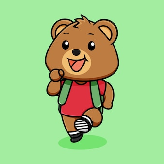 Cute happy bear dressed to go to school cartoon on light green background
