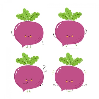 Cute happy beetroot character set collection. isolated on white . vector cartoon character illustration design, simple flat style. beetroot walk,train,think,meditate concept