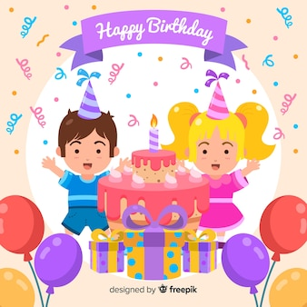 Cute happy birthday background design