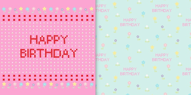 Cute happy birthday card and floral seamless pattern