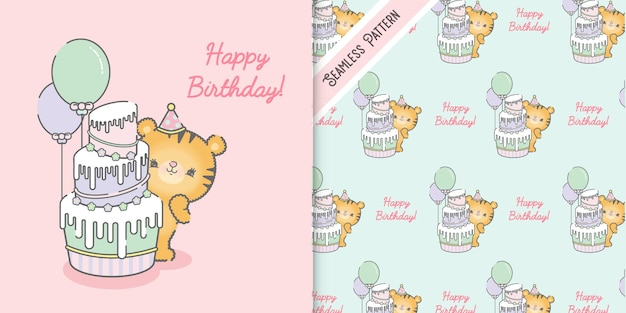 Cute happy birthday card template and seamless pattern