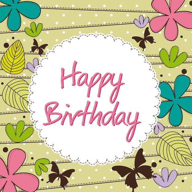 Cute happy birthday card with flower vector illustration