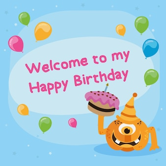Cute happy birthday card with monster. vector illustration