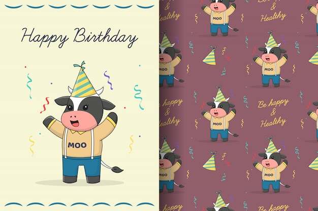 Cute happy birthday cow seamless pattern and card