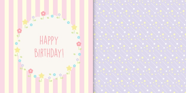 Cute happy birthday floral card and stars seamless pattern