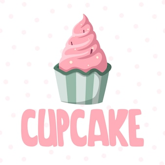 Cute happy birthday gift card with a picture of delicious cupcake and lettering.