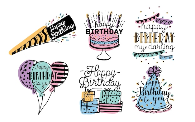 Cute happy birthday greetings inscriptions design collection. colorful hand drawn lettering vector illustration set on white background.