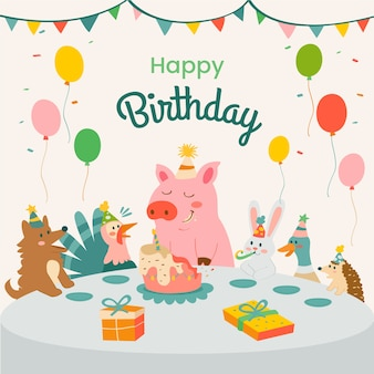 Cute happy birthday illustration with pig