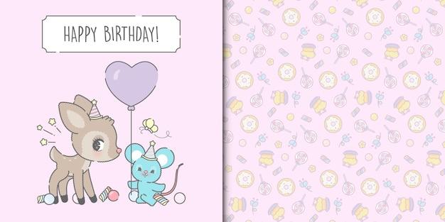 かわいいお誕生日おめでとうマウスと鹿のカードテンプレートとお菓子のシームレスなパターン