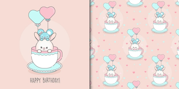 Cute happy birthday mouse and bunny card template and seamless pattern