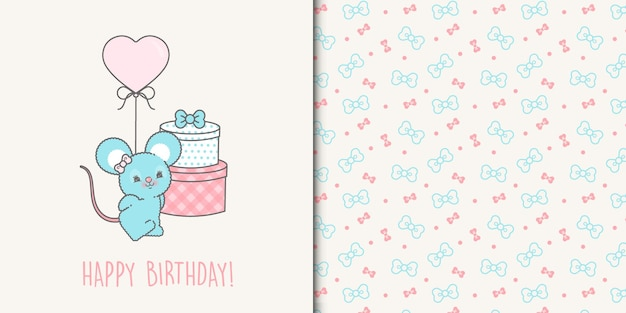 Cute happy birthday mouse card template and ribbons seamless pattern