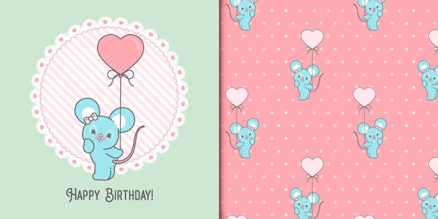 Cute happy birthday mouse card template and seamless pattern