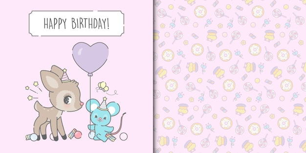 Cute happy birthday mouse and deer card template and sweets seamless pattern
