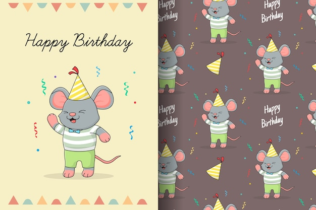 かわいいお誕生日おめでとうマウスのシームレスなパターンとカード