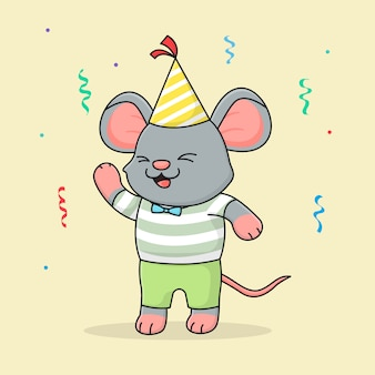Cute happy birthday mouse with hat